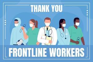 maquette de publication sur les médias sociaux des travailleurs de première ligne médicaux vecteur