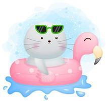 mignon doodle morse avec un personnage de dessin animé de bouée flamant rose vecteur