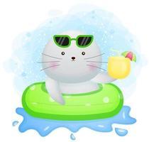 mignon doodle morse avec une bouée de natation et tenant le personnage de dessin animé de jus de fruits frais vecteur