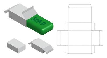 maquette de boîte à savon en papier dur avec dieline vecteur