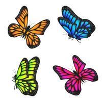 ensemble de papillons colorés volant isolé vecteur