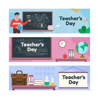 bonne collection de bannières de la journée des enseignants vecteur