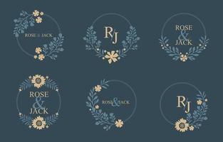 modèle floral de monogramme de mariage vecteur