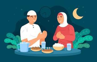 couple célébrant ensemble eid mubarak vecteur