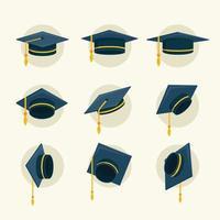 collection d & # 39; icônes de graduation de chapeau vecteur