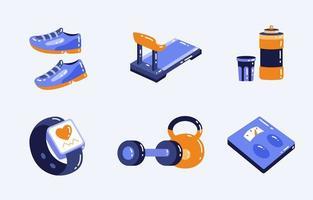 collection d & # 39; icônes d & # 39; outils de fitness à domicile vecteur
