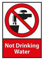 Pas de signe de symbole de l'eau potable isolé sur fond blanc vecteur