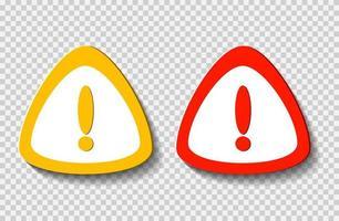 symbole de point d'exclamation, avertissement icône dangereuse sur blanc transparent.vector illustration vecteur