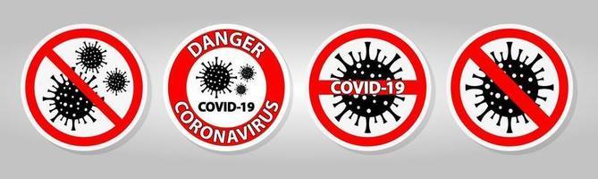 panneau d'avertissement, attention, épidémie de coronavirus covid 19 vecteur