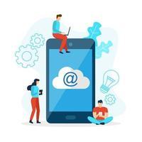 e-mails de téléphonie mobile avec cloud vecteur