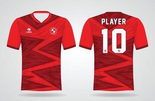 modèle de maillot de sport rouge pour les uniformes d'équipe et la conception de t-shirt de football vecteur