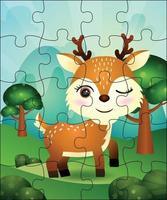 illustration de jeu de puzzle pour les enfants avec un cerf mignon vecteur