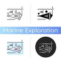 icône de filet de zooplancton vecteur
