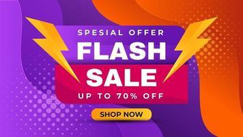 bannière offre spéciale de vente flash. fond fluide liquide de couleur violette et orange. modèle de promotion d'annonces de produits commerciaux. vecteur
