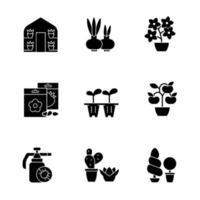 Catégories de magasin de jardinage icônes de glyphe noir sur espace blanc vecteur