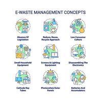 Ensemble d'icônes de concept de gestion des déchets électroniques vecteur