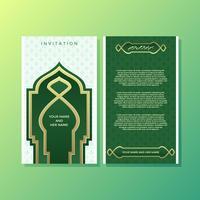 Modèle de modèle d'invitation de style islamique vert vecteur