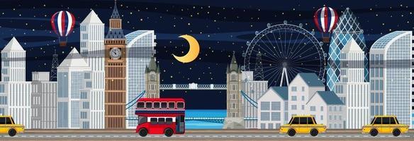 Scène horizontale de la ville de Londres la nuit vecteur