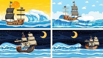 ensemble de différentes scènes de plage avec bateau pirate vecteur