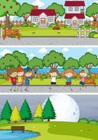 ensemble de fond de scènes horizontales différentes avec personnage de dessin animé enfants doodle vecteur
