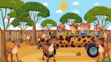 safari à la scène de jour avec de nombreux enfants regardant un groupe de cerfs vecteur
