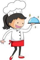 petit chef servant un personnage de dessin animé de nourriture vecteur