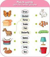 faire correspondre les mots avec le jeu d'images correct pour les enfants vecteur