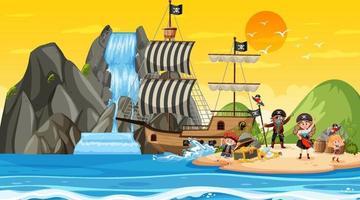 Scène d & # 39; île au trésor au coucher du soleil avec des enfants pirates vecteur