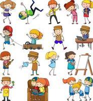 ensemble de différents personnages de dessin animé enfants doodle isolé vecteur