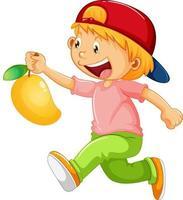personnage de dessin animé fille heureuse tenant une mangue vecteur