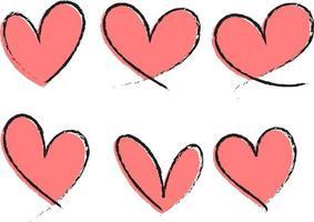 ensemble de différents types de coeur rose dessinés à la main isolé vecteur