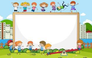 scène de parc avec bannière vierge et personnage de dessin animé de nombreux enfants doodle vecteur