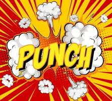 mot punch sur fond d'explosion de nuage comique
