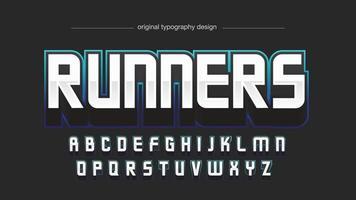 typographie de jeu de trait bleu néon moderne vecteur