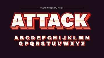 typographie audacieuse de sport rouge 3d métallique vecteur