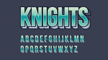 typographie majuscule 3d métallique verte vecteur
