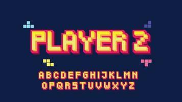 typographie de style pixel 3d jaune et rouge vecteur
