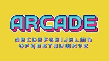 typographie de jeu de dessin animé 3d bleu et rose vecteur