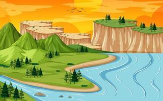 paysage de géographie terrestre et aquatique vecteur