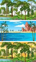 ensemble de scènes horizontales de nature différente vecteur