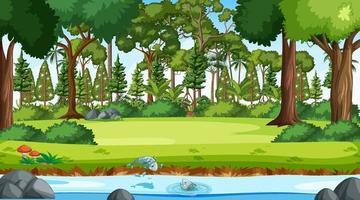 rivière coule à travers la scène forestière pendant la journée vecteur
