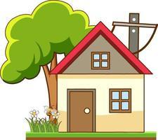 Devant une petite maison avec de nombreux arbres isolé sur fond blanc vecteur