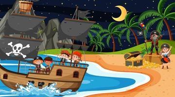 Scène d & # 39; île au trésor la nuit avec des enfants pirates sur le navire vecteur