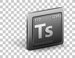 Symbole chimique de l'élément chimique en tennessine avec numéro atomique et masse atomique vecteur