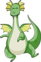 personnage de dessin animé simple de dragon vert isolé vecteur