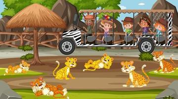 Scène de safari pendant la journée avec des enfants touristes regardant le groupe de léopard vecteur