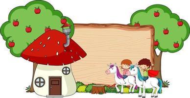 bannière en bois vierge avec personnage de dessin animé fantastique isolé vecteur