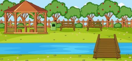 scène horizontale avec pavillon dans le parc vecteur