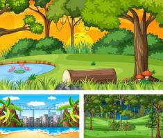 ensemble de différentes scènes de paysage naturel vecteur