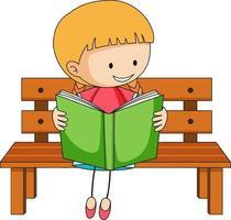 jolie fille lisant livre doodle personnage de dessin animé vecteur
